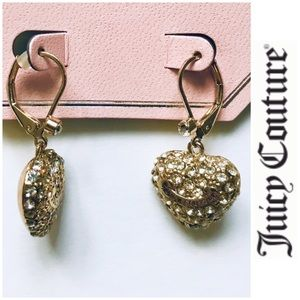 NWT Juicy Coutu Faux Diamond Heart Shape Earrings